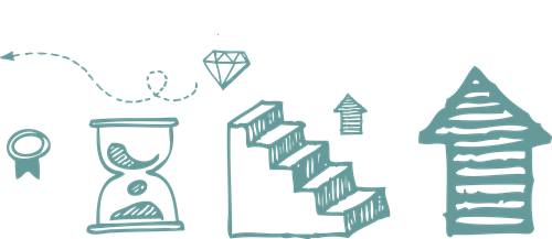Steps, arrows going up, time, diamonds, arrows, prize icons